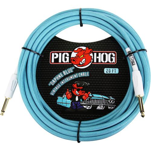 Pig Hog Vintage-Series Woven Instrument Cable (Daphne Blue, 20')