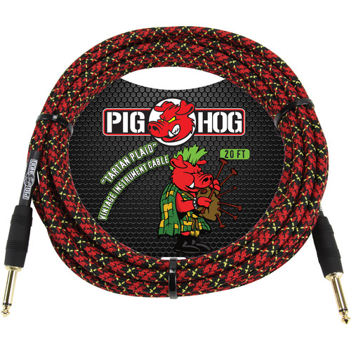 Pig Hog Vintage-Series Woven Instrument Cable (Tartan Plaid, 20')