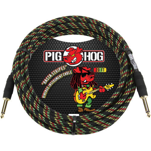 Pig Hog Vintage-Series Woven Instrument Cable (Rasta Stripes, 20')