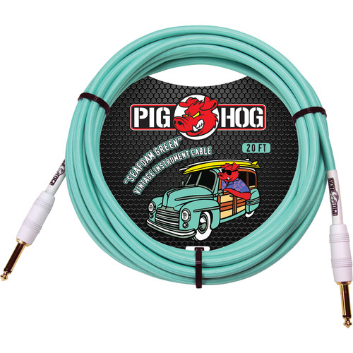 Pig Hog Vintage-Series Woven Instrument Cable (Seafoam Green, 20')