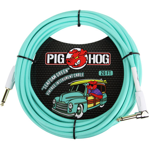 Pig Hog Vintage-Series Woven Instrument Cable (Seafoam Green, 20', Right Angle)