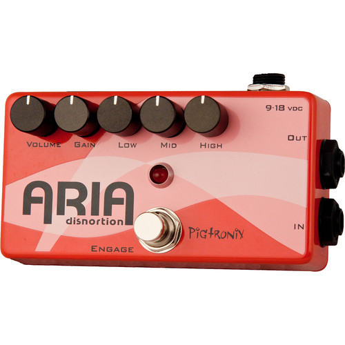 Pigtronix Aria Distortion Pedal with Diode Clipping Circuit and 3-Band Active EQ