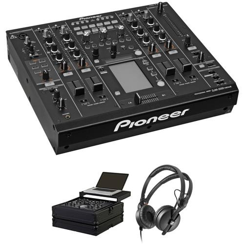 Pioneer DJ DJM-2000NXS DJ Mixer Kit with Flight Case and Headphones