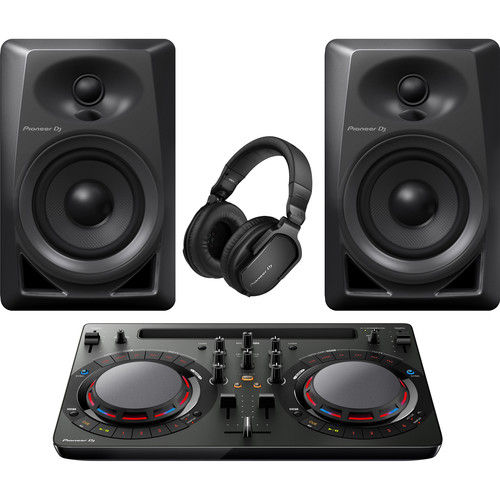 Pioneer DJ Performance Pack with DDJ-WeGO4-K Controller, DM-40 Speakers, and HRM-5 Headphones