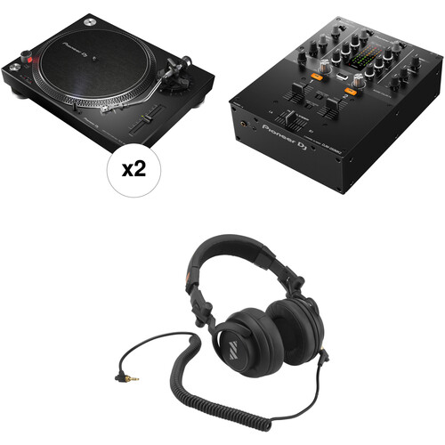 Pioneer DJ PLX-500-K Turntable DJ Kit with 2 x Turntables, Mixer, and Headphones