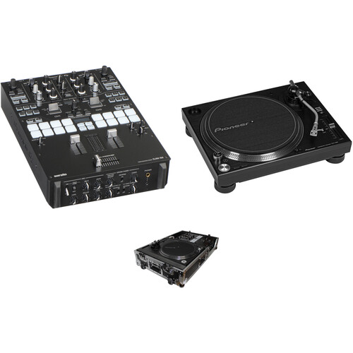 Pioneer DJ DJM-S9 Professional 2-Channel Battle Mixer, PLX-1000 Turntable and Case Kit