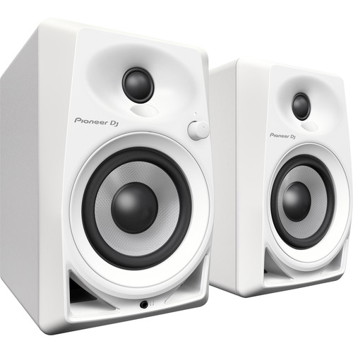 """Pioneer DJ DM-40-W - 21W 4"""" Two-Way Active Monitor (Pair, White)"""