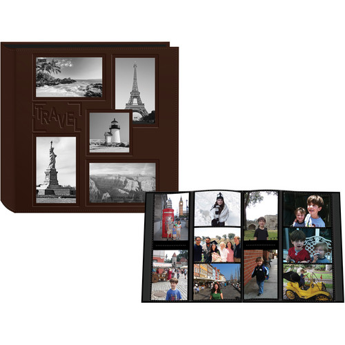 "Pioneer Photo Albums 5COL240 Collage Frame Embossed Sewn Leatherette 4x6"" Travel Photo Album (Brown)"
