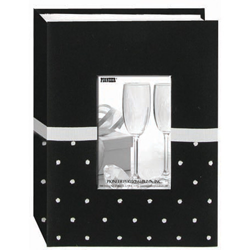 Pioneer Photo Albums CEM-100 Celebration Embroidered Frame Fabric Photo Album (Black and White)