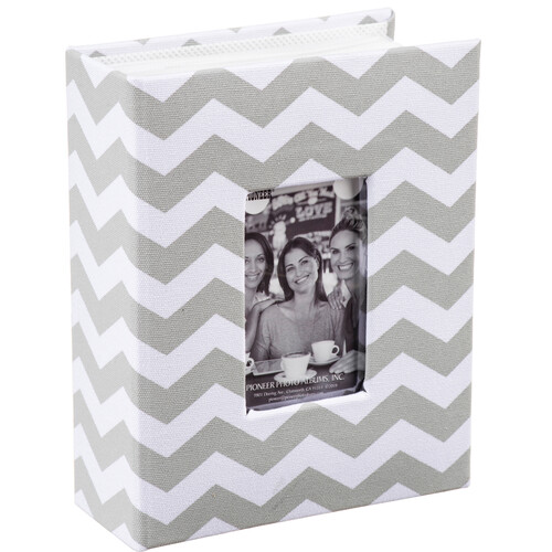 Pioneer Photo Albums Cloth Album with Frame (Chevron, Gray)