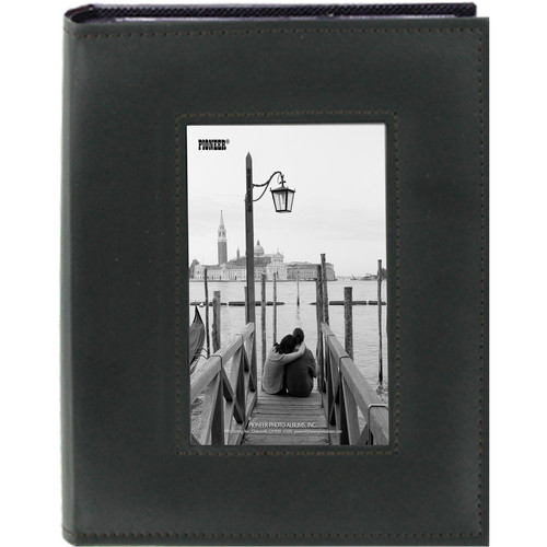 "Pioneer Photo Albums Sewn Photo Album with Frame Cutout - For 4 x 6"" (Black)"
