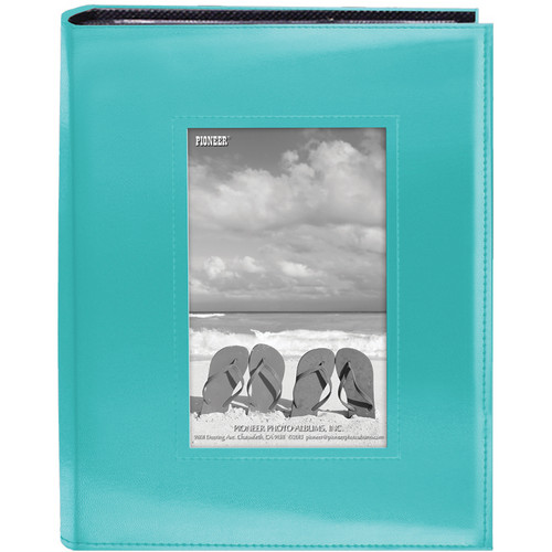 "Pioneer Photo Albums Sewn Photo Album with Frame Cutout - For 4 x 6"" (Blue)"