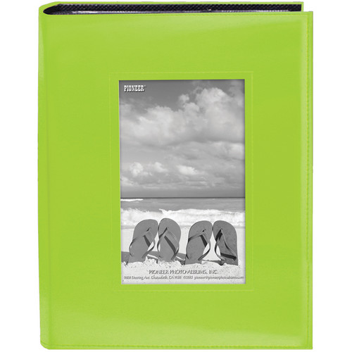 """Pioneer Photo Albums Sewn Photo Album with Frame Cutout - For 4 x 6"""" (Green)"""