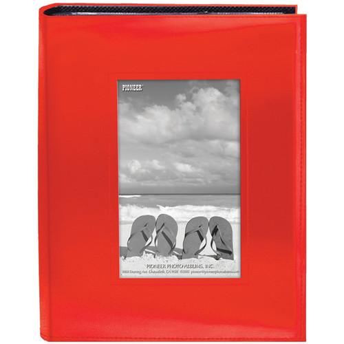 "Pioneer Photo Albums Sewn Photo Album with Frame Cutout - For 4 x 6"" (Orange)"