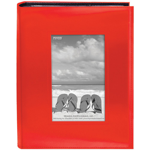 "Pioneer Photo Albums Sewn Photo Album with Frame Cutout - For 4 x 6"" (Orange)"