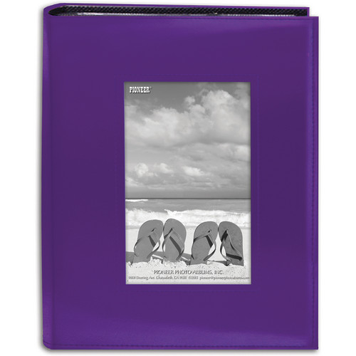"Pioneer Photo Albums Sewn Photo Album with Frame Cutout - For 4 x 6"" (Purple)"
