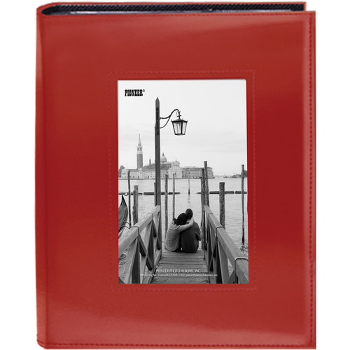 "Pioneer Photo Albums Sewn Photo Album with Frame Cutout - For 4 x 6"" (Red)"