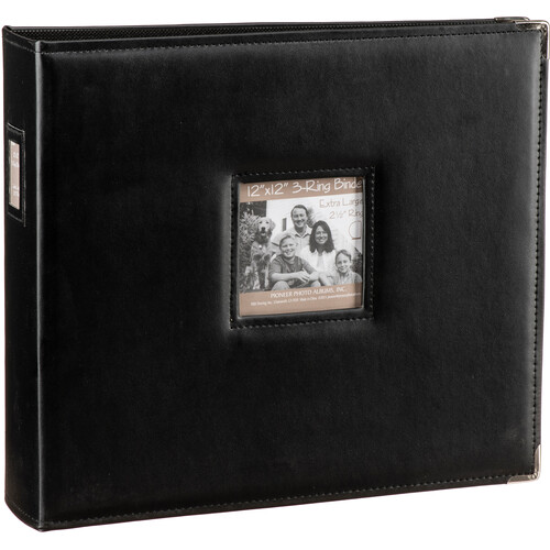 "Pioneer Photo Albums T-12JF 12x12"" 3-Ring Binder Sewn Leatherette Silver Tone Corner Scrapbook (Black)"