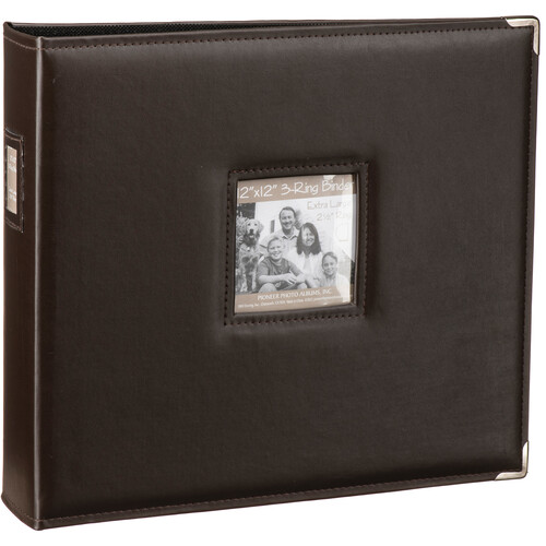 "Pioneer Photo Albums T-12JF 12x12"" 3-Ring Binder Sewn Leatherette Silver Tone Corner Scrapbook (Brown)"