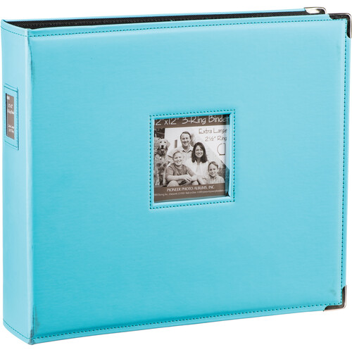 """Pioneer Photo Albums T-12JF 12x12"""" 3-Ring Binder Sewn Leatherette Silver Tone Corner Scrapbook (Blue)"""