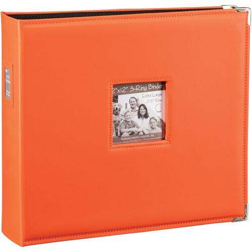 "Pioneer Photo Albums T-12JF 12x12"" 3-Ring Binder Sewn Leatherette Silver Tone Corner Scrapbook (Orange)"