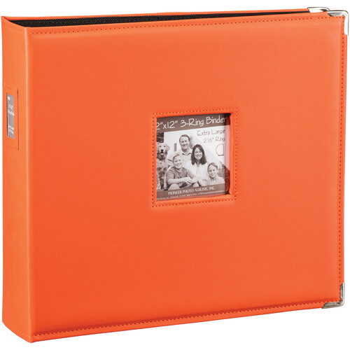 "Pioneer Photo Albums T-12JF 12x12"" 3-Ring Binder Sewn Leatherette Silver Tone Corner Scrapbook (Orange)"
