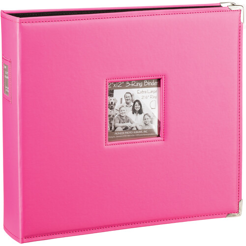"Pioneer Photo Albums T-12JF 12x12"" 3-Ring Binder Sewn Leatherette Silver Tone Corner Scrapbook (Pink)"