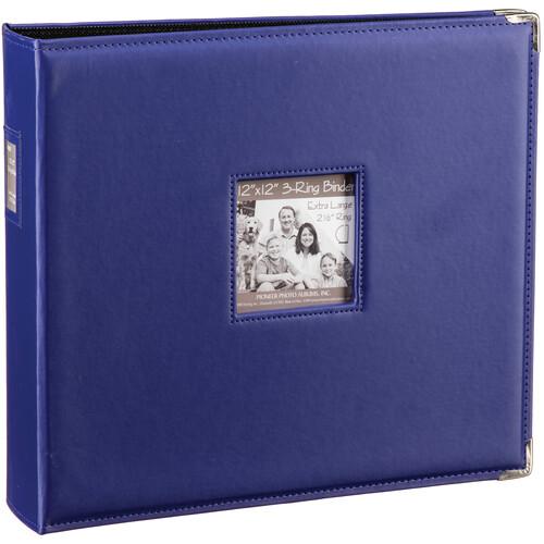 "Pioneer Photo Albums T-12JF 12x12"" 3-Ring Binder Sewn Leatherette Silver Tone Corner Scrapbook (Purple)"