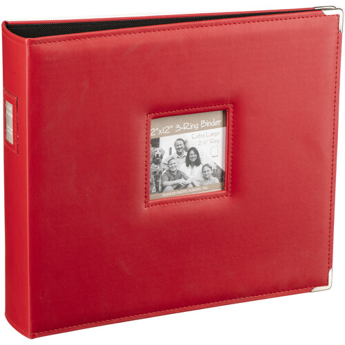 "Pioneer Photo Albums T-12JF 12x12"" 3-Ring Binder Sewn Leatherette Silver Tone Corner Scrapbook (Red)"