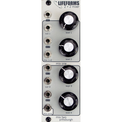 Pittsburgh Lifeforms 2+2 Mixer - Ambidextrous Four Channel Mixer - Eurorack Module