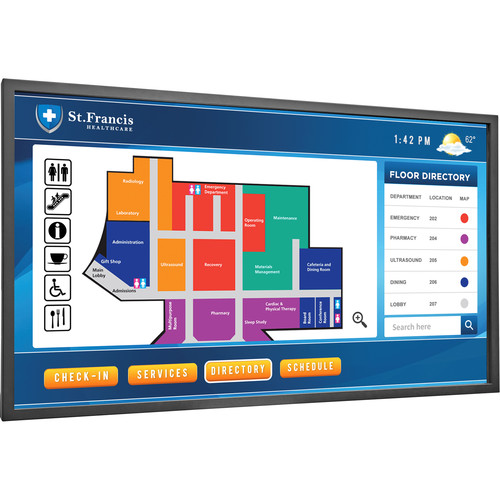 "Planar Systems 65"" Touchscreen FHD Ultra Slim LED Backlight Metal Bezel Landscape and Portrait Display"