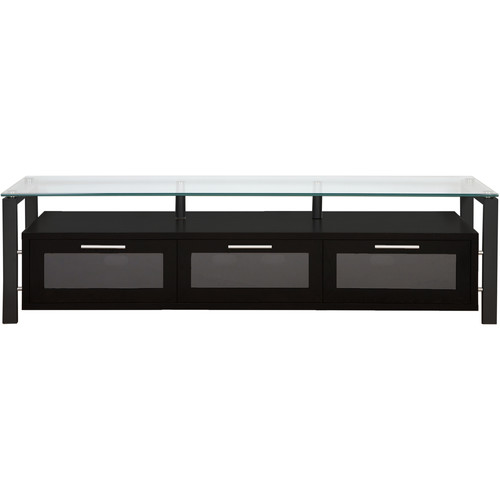 PLATEAU Decor 71 TV Stand (Black Oak Finish, Black Legs, Clear Glass)
