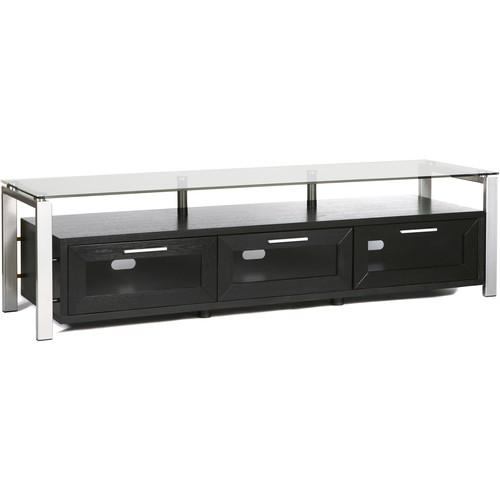 PLATEAU Decor 71 TV Stand (Black Oak Finish, Silver Legs, Clear Glass)