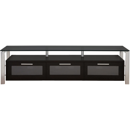 PLATEAU Decor 71 TV Stand (Black Oak Finish, Silver Legs, Black Glass)