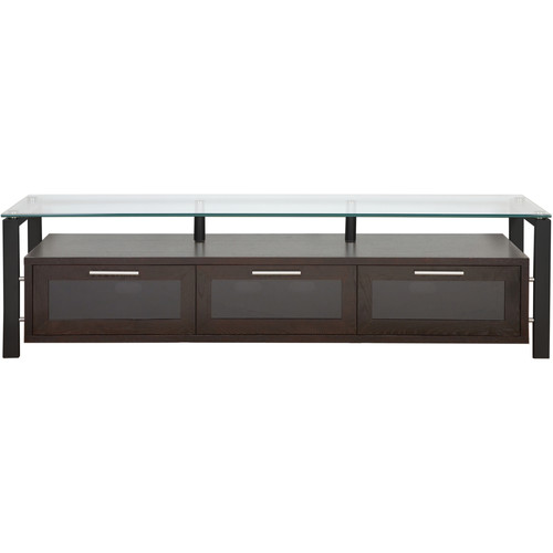 PLATEAU Decor 71 TV Stand (Espresso Finish, Black Legs, Clear Glass)