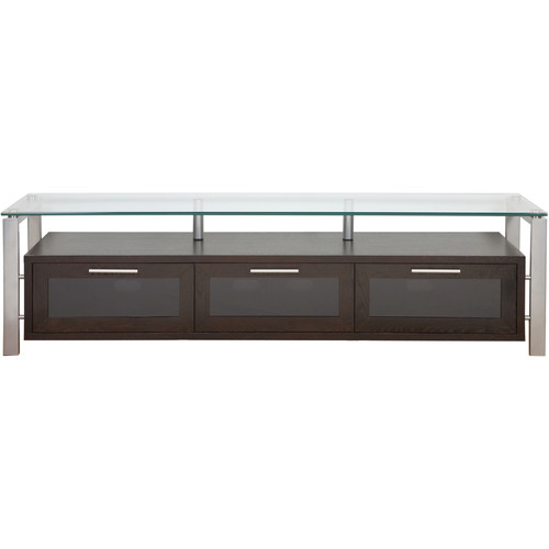 PLATEAU Decor 71 TV Stand (Espresso Finish, Silver Legs, Clear Glass)
