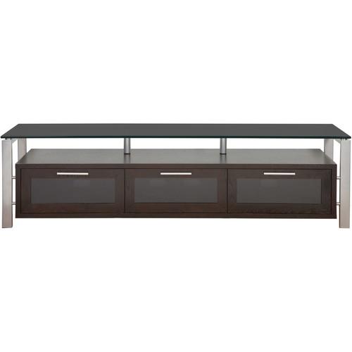 PLATEAU Decor 71 TV Stand (Espresso Finish, Silver Legs, Black Glass)