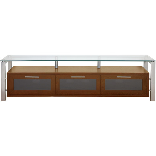 PLATEAU Decor 71 TV Stand (Walnut Finish, Silver Legs, Clear Glass)