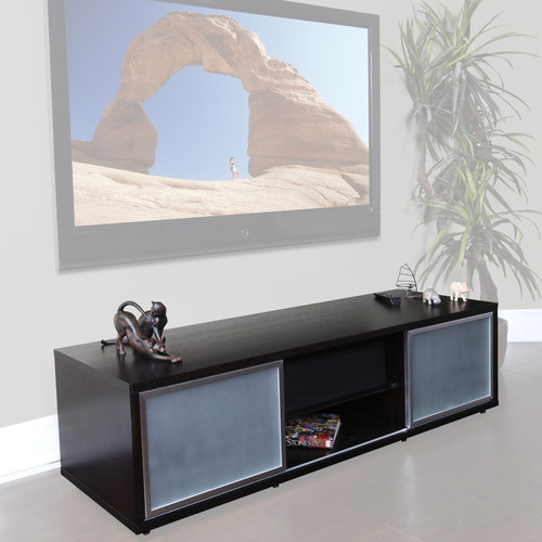 "PLATEAU SR-V65 Wood and Glass 65"" TV Stand (Black Oak)"