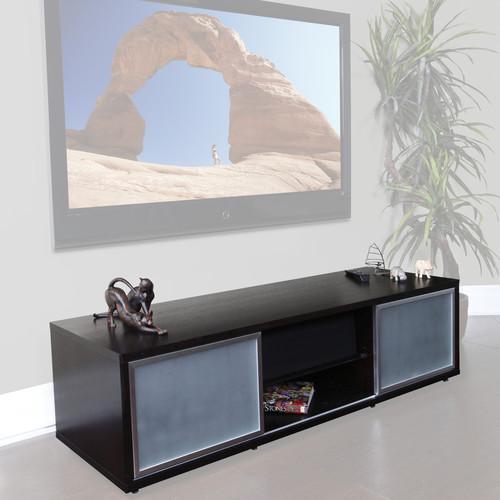 "PLATEAU SR-V65 Wood and Glass 65"" TV Stand (Black Oak)"