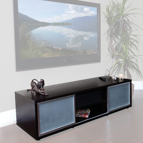 "PLATEAU SR-V65 Wood and Glass 65"" TV Stand (Espresso)"