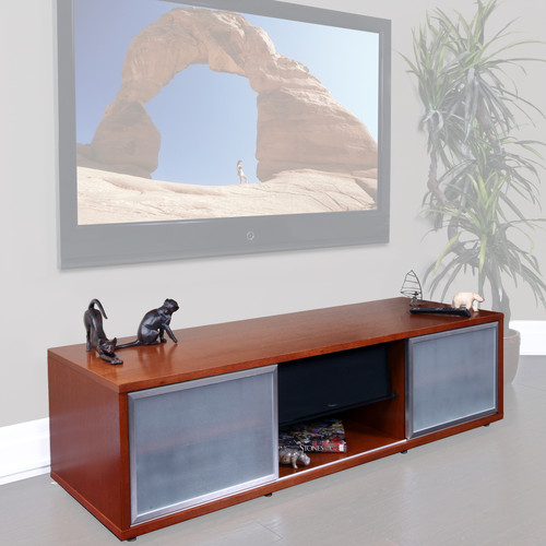 "PLATEAU SR-V65 Wood and Glass 65"" TV Stand (Walnut)"