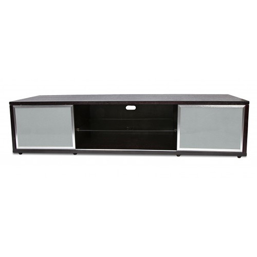 PLATEAU SR-V 75 TV Stand (Black Oak Finish, Silver Door Frames)