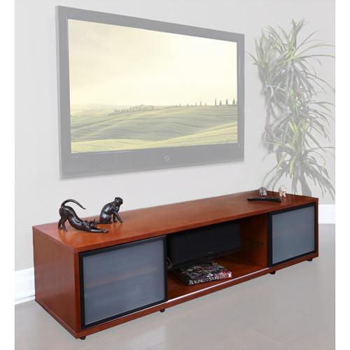 PLATEAU SR-V 75 TV Stand (Walnut Finish, Black Door Frames)