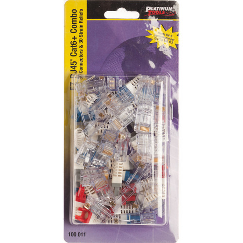 Platinum Tools EZ-RJ45 CAT6 Connector and Strain Relief Combo Kit (30-Pieces)
