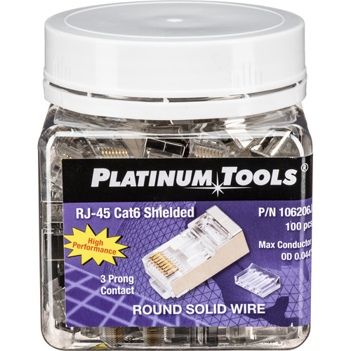 Platinum Tools RJ45 8P8C Shielded Cat 6 Round-Solid 3-Prong Connector with Liner (Jar of 100)