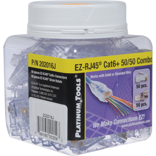 Platinum Tools EZ-RJ45 Cat 6 Connector and Strain Relief Combo Kit (50-Pieces)