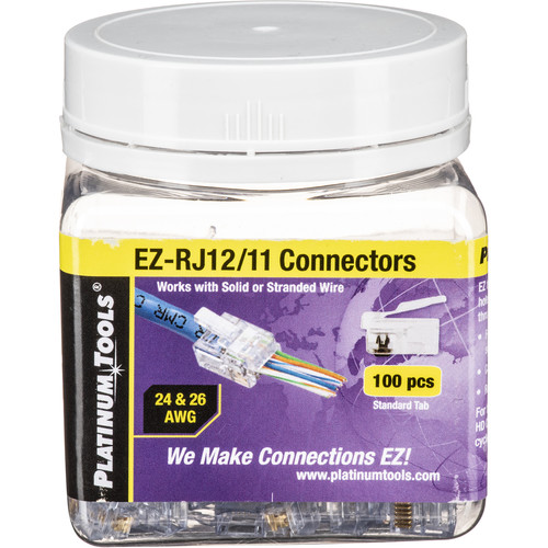 Platinum Tools EZ-RJ12/11 Connector with Standard Tab (Jar, 100-Pieces)