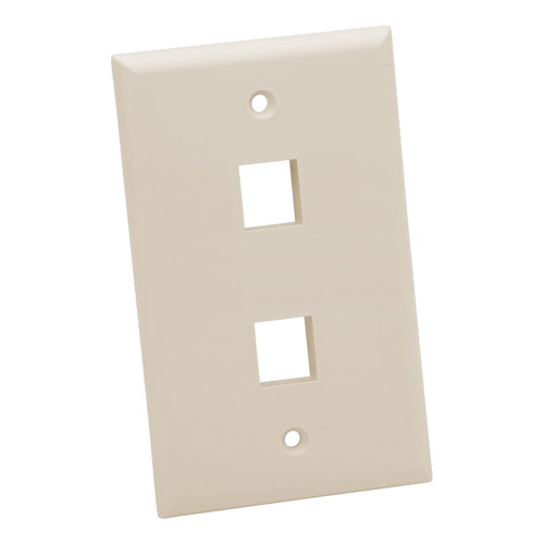 Platinum Tools Standard 2-Port Wall Plate (Light Almond, 25-Pack)