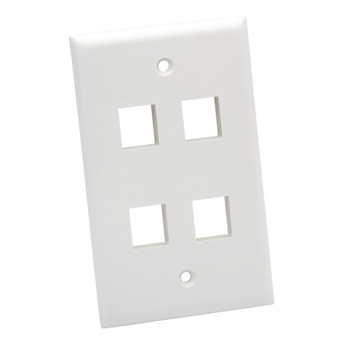 Platinum Tools Standard 4-Port Wall Plate (White, 25-Pack)